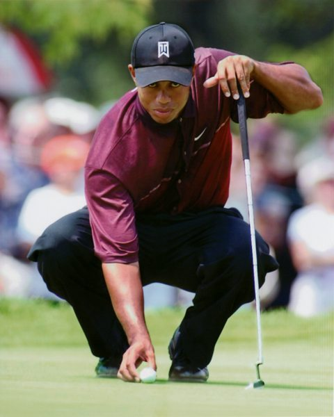 Tiger Woods Lining Up The Putt Dgl Sports Vancouver