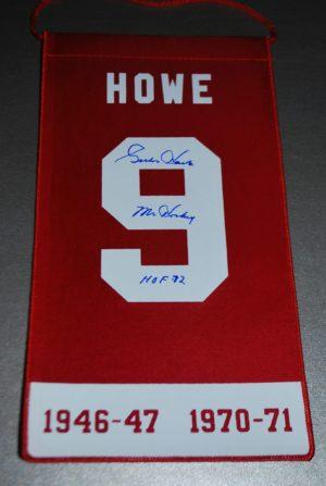 Gordie Howe signed Mini Retirement Banner