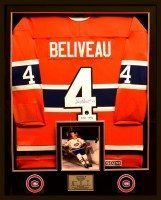 Jean Beliveau-custom framed signed Jersey copy
