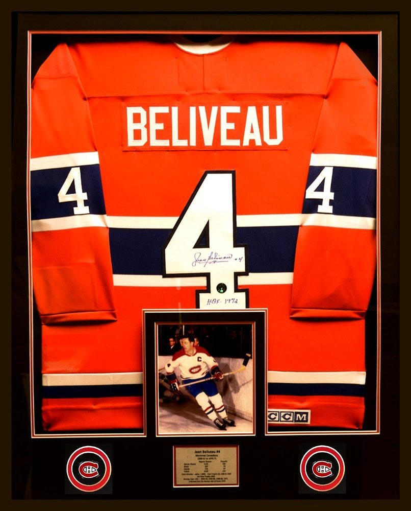 newest cda39 f59b1 Jean Beliveau - Autographed Custom Framed Montreal Canadiens Jersey