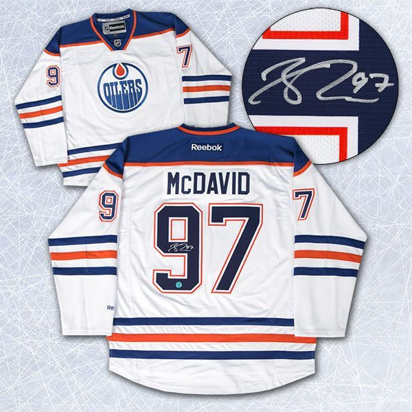 buy online dcc72 83c1a Connor McDavid Edmonton Oilers Autographed White Reebok Premier Hockey  Jersey